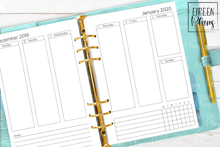 2020 Weekly printable inserts for A5 planners