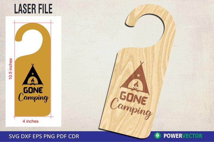Laser File Door Knob Hanger SVG - Gone Camping