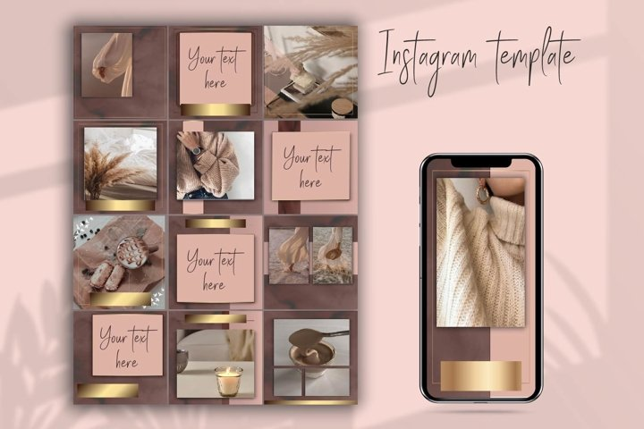Brown and gold instagram templates.Instagram feed template