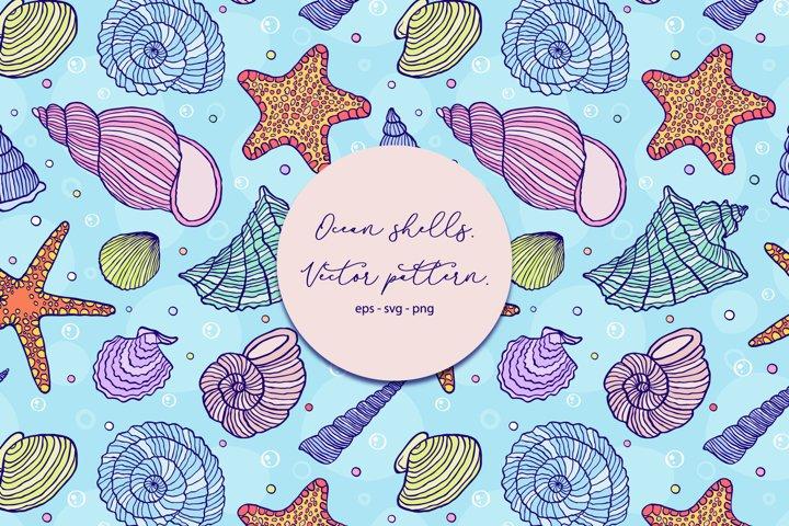 Ocean shells. Vector pattern.