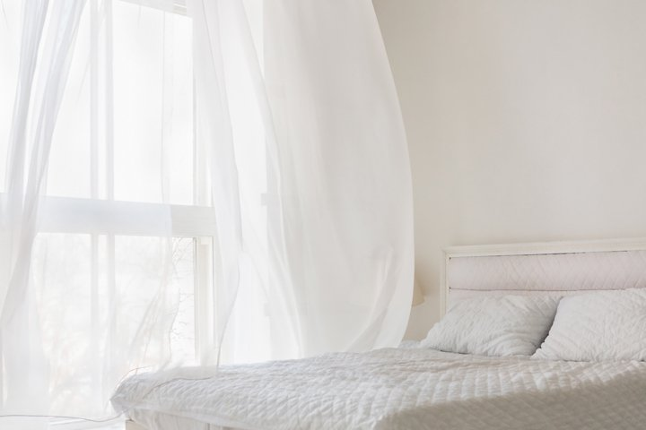 Abstract white bedroom
