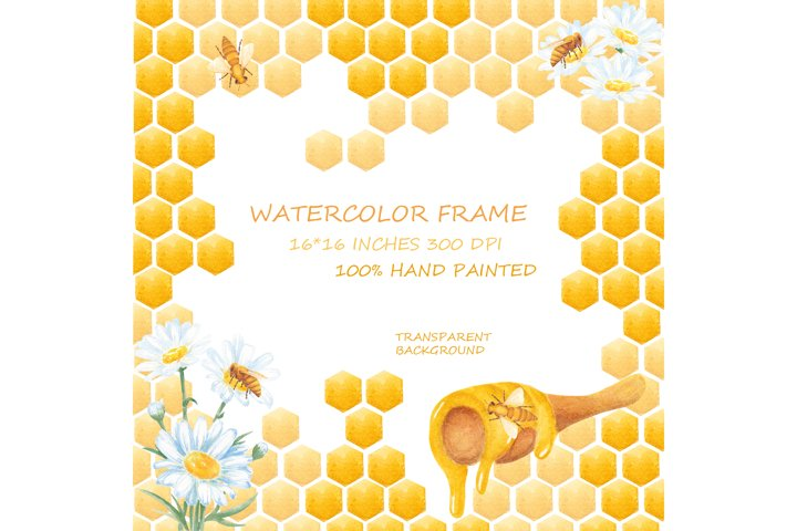 Watercolor Frames Honeycomb, Honey Bees, Chamomile.