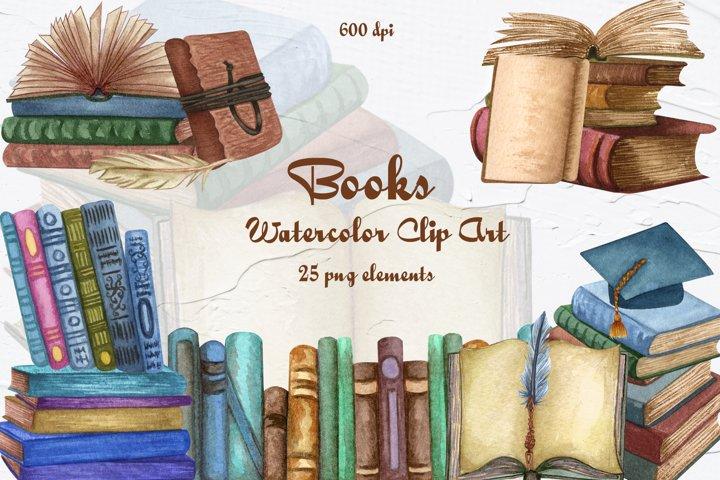 Books Watercolor Clip Art