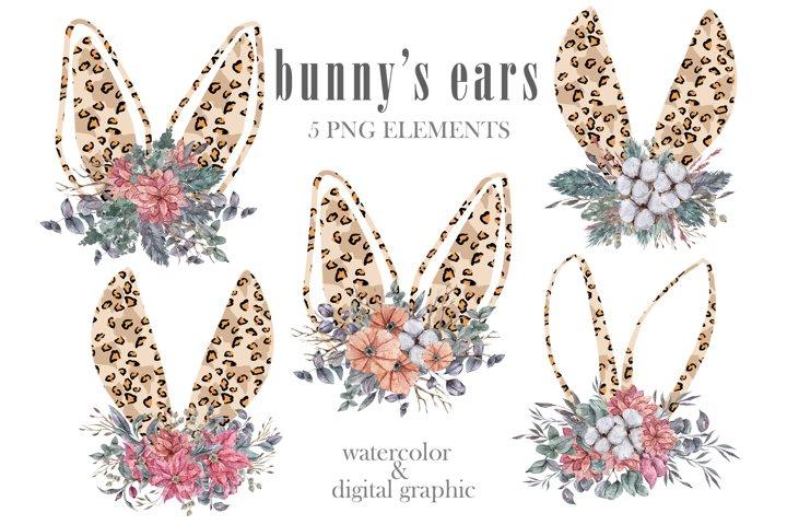 Watercolor leopard bunny ears clipart. Floral bouquet png