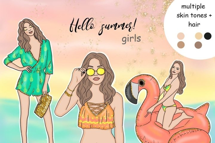Hello Summer GIRLS Summer Clipart Tropic Lady Planner - PNG