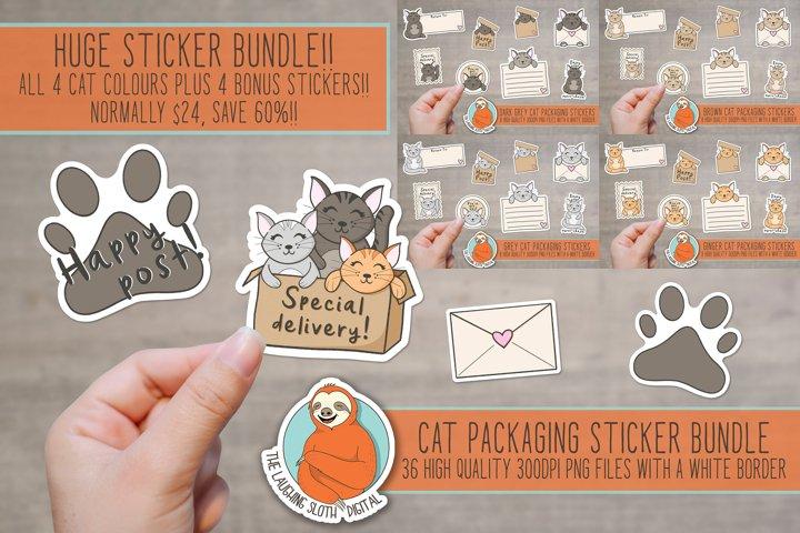Cute Cat Packaging Stickers Huge Bundle