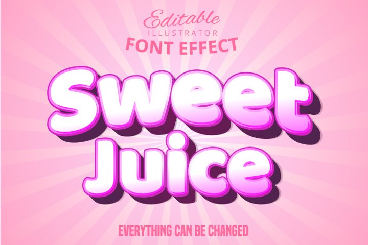 Sweet juice text, editable font effect