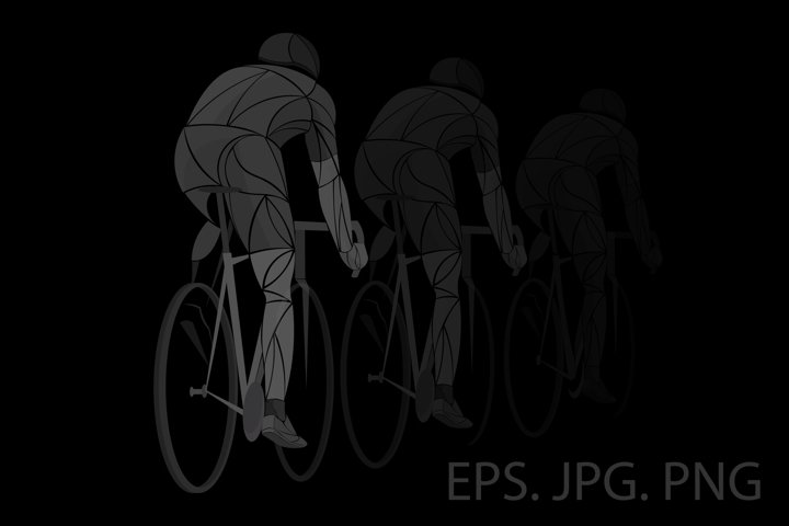 Geometric cyclist, athlete black, dark, transparent
