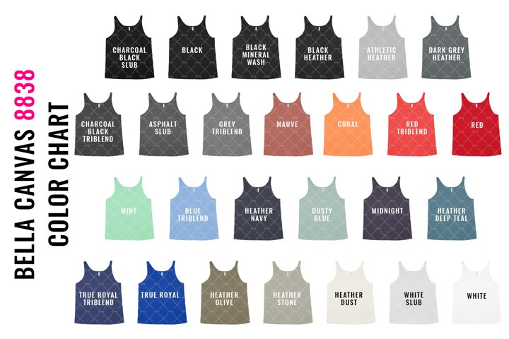 Bella Canvas 8838 Slouchy Tank Top Mockup Color Chart