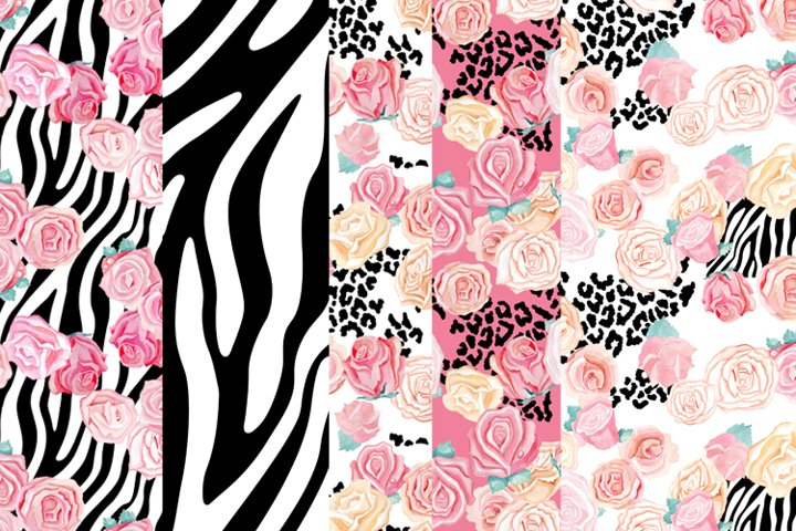 digital paper animal print and flowers