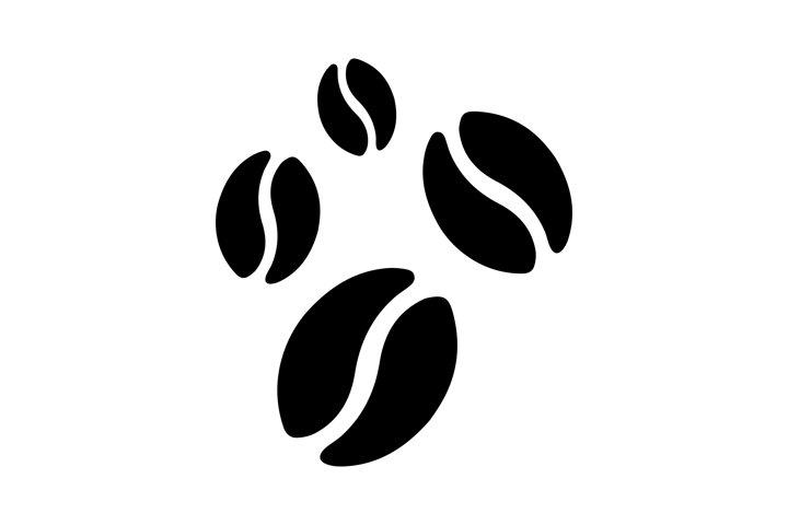 Coffee beans vector icon. Coffee bean black symbol