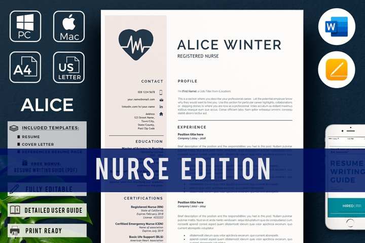 Nurse Resume Template for Word and pages. Medical Cv Cna