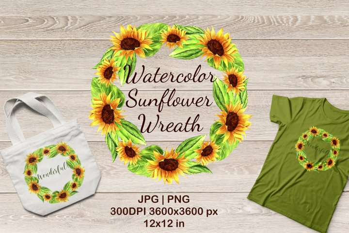 Watercolor Sunflowers Wreath Sublimation Design