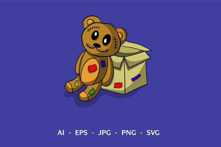 Scary Teddy Bear Vector Design