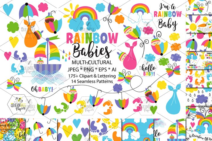 Rainbow Baby Clipart And Seamless Digital Papers Bundle