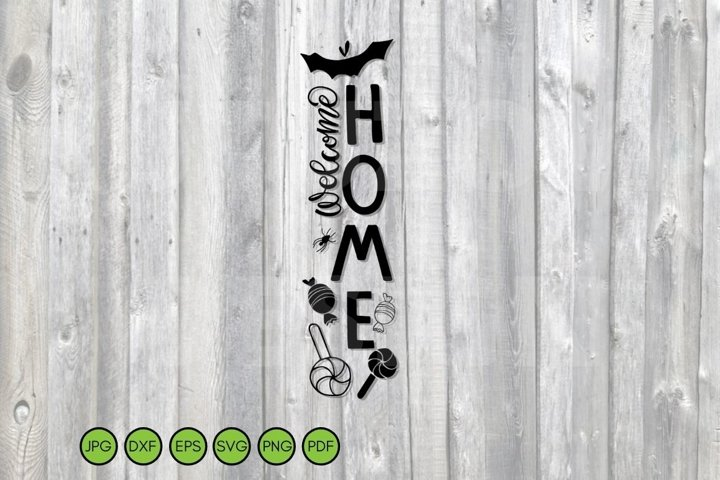 Halloween vertical sign svg png dxf eps. Porch Welcome Sign