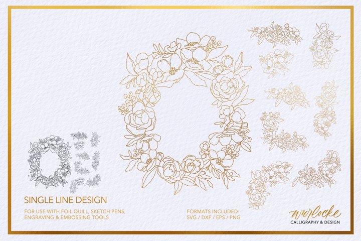 SVG Foil Quill Floral Border Single Line Design