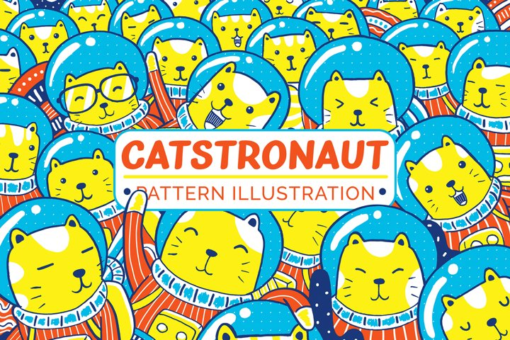 Catstronaut Pattern Illustration