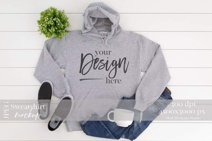 Gildan 18500 Mockup | Sweatshirt Mockup GREY