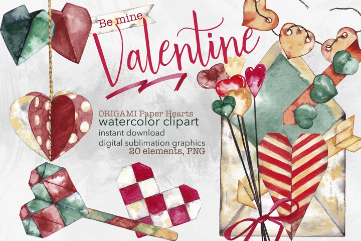 Origami paper hearts Watercolor Valentines Day clipart PNG