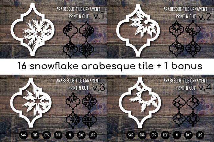 Arabesque Tile Christmas Ornament Bundle. Lantern SVG Cut