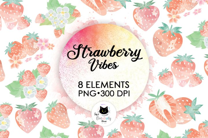 Watercolor Strawberry Fruit Clipart | Summer Sublimation