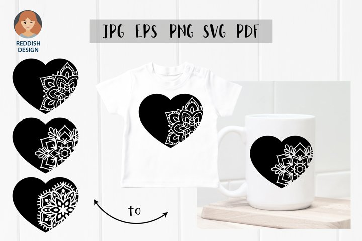 Hearts with ornaments SVG vector design SVG EPS JPG PNG