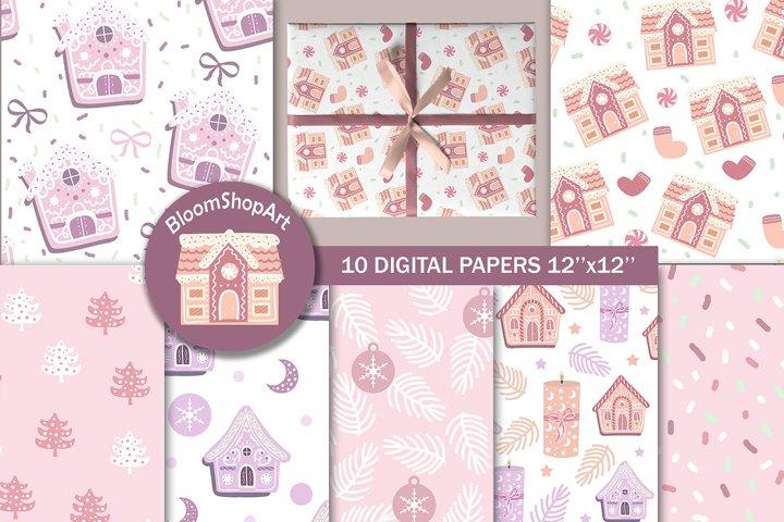 Sweet pink christmas digital paper, Gingerbread house paper