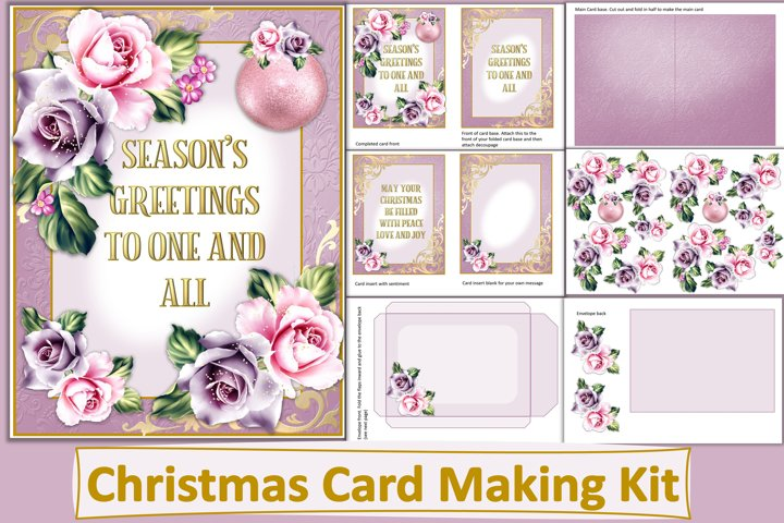 Christmas Card Making Kit with Insert and Envelope