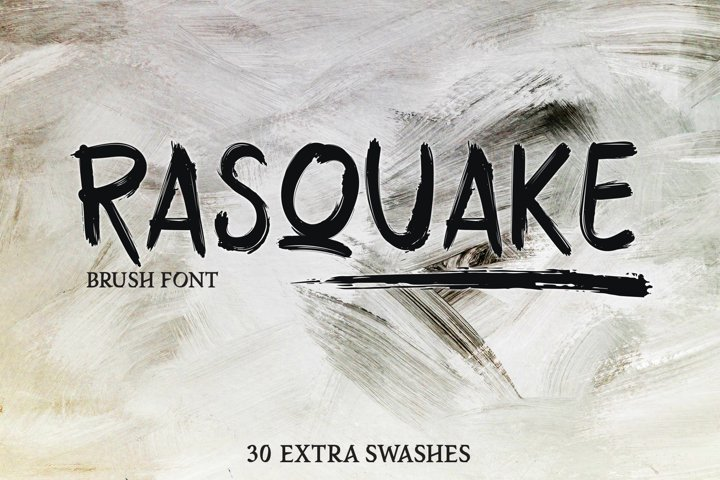 RASQUAKE brush font EXTRA swashes