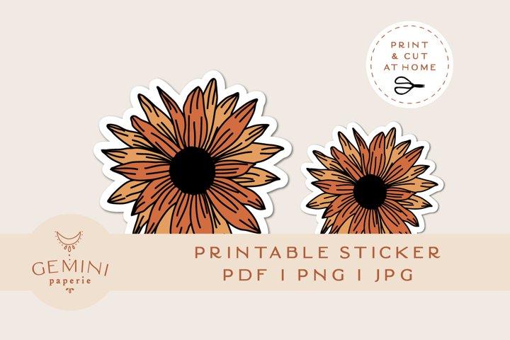 Printable Sticker   Sunflower Sticker for Cricut