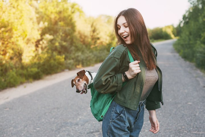 Girl holds with a backpack from which a cute dog peeks.