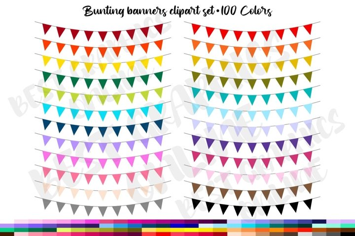 100 Bunting Banners Clip Art, Garland Clipart, Party Flags