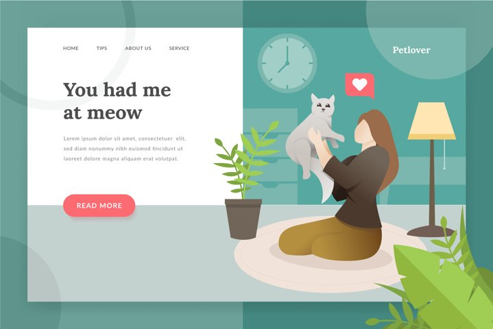 Pet lover landing - page illustration