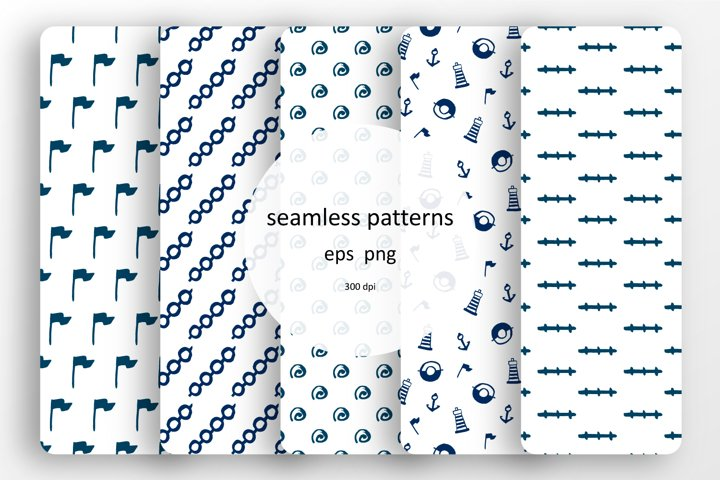 Set of seamless patterns with paints sea elements