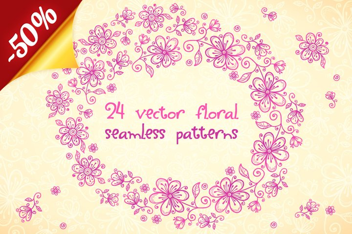 24 vector floral backgrounds