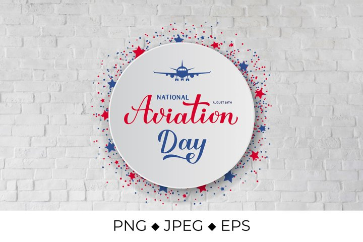 National Aviation Day Handwritten PNG Sublimation Design