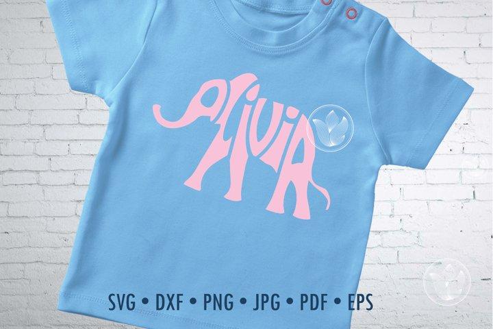 Olivia Word Art in elephant shape, Svg cut file, Typography
