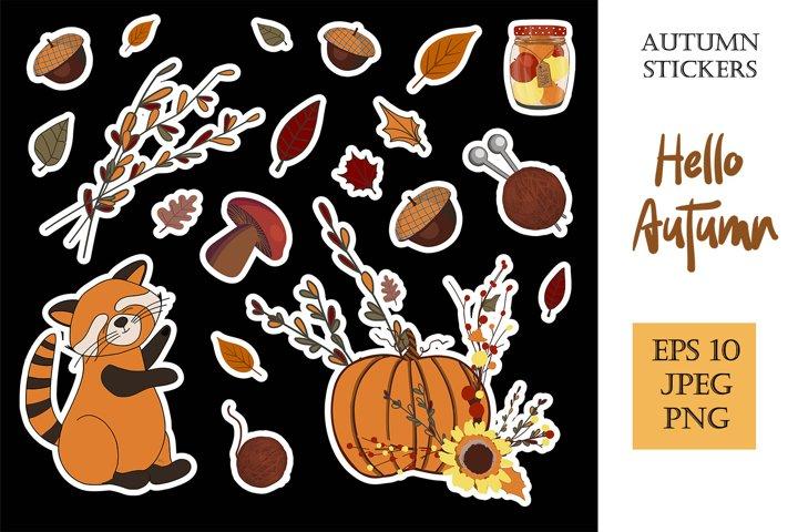 Autumn stickers. eps 10, jpeg 300, png transparent