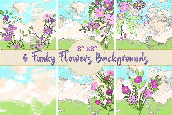 Watercolour Funky Flowers Scrapbook Backgrounds JPEG