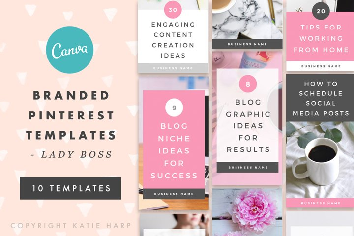 Pinterest Canva Templates - Lady Boss