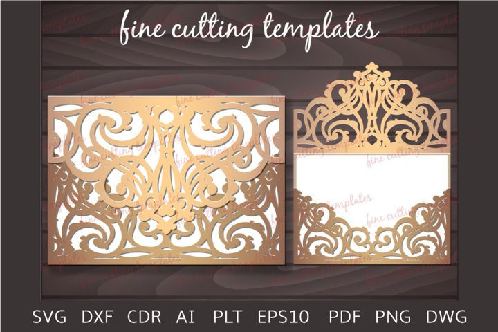 Wedding Invitation Laser cut 5x7 envelope template svg, cdr