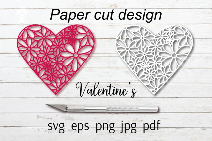 Valentines paper cut design for Cricut and Silhouette SVG