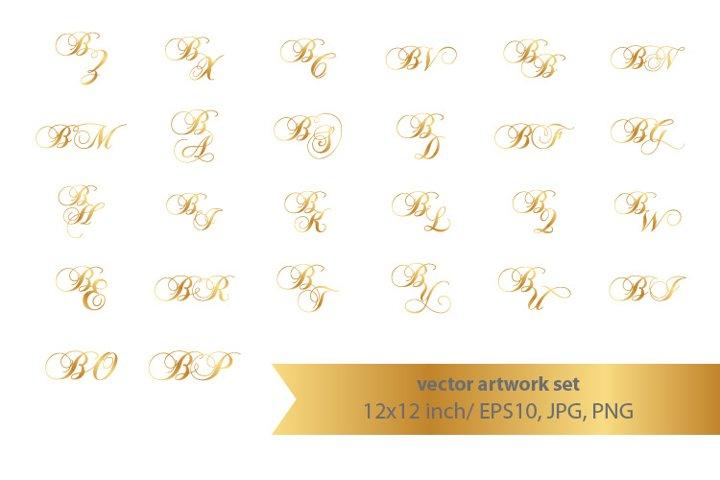 Calligraphic golden monogram set, letter B