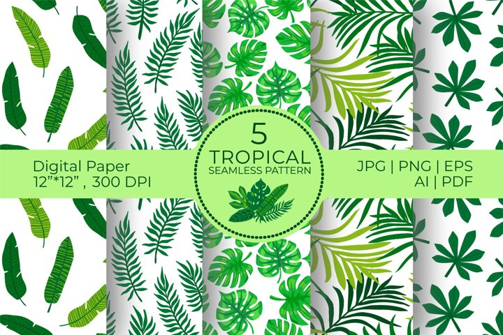Tropical Digital Papers, Exotic palm leaves seamless pattern