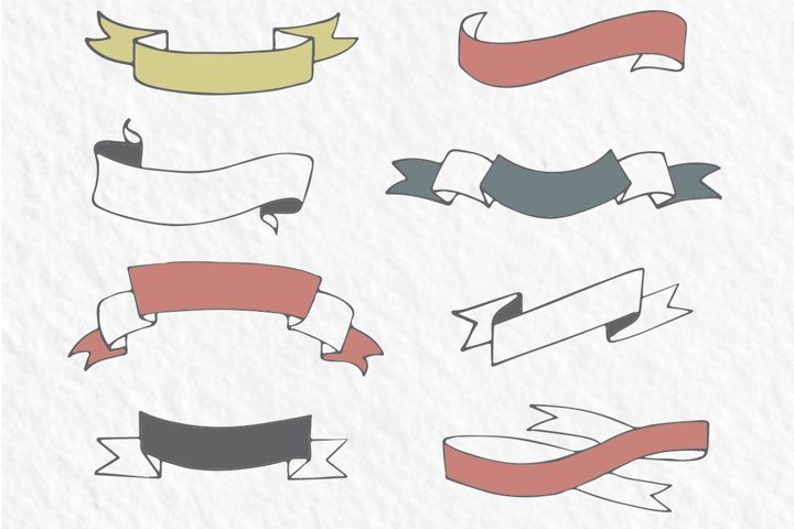 20 hand-drawn ribbons, banners - Free Design of The Week Design1