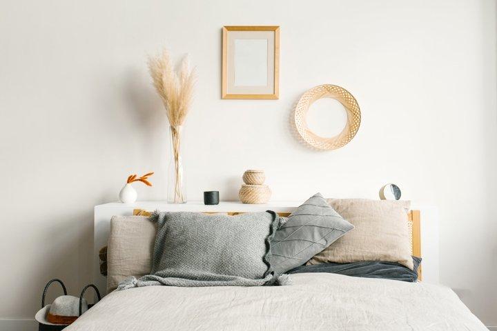 Bedroom in a Scandinavian minimalist style