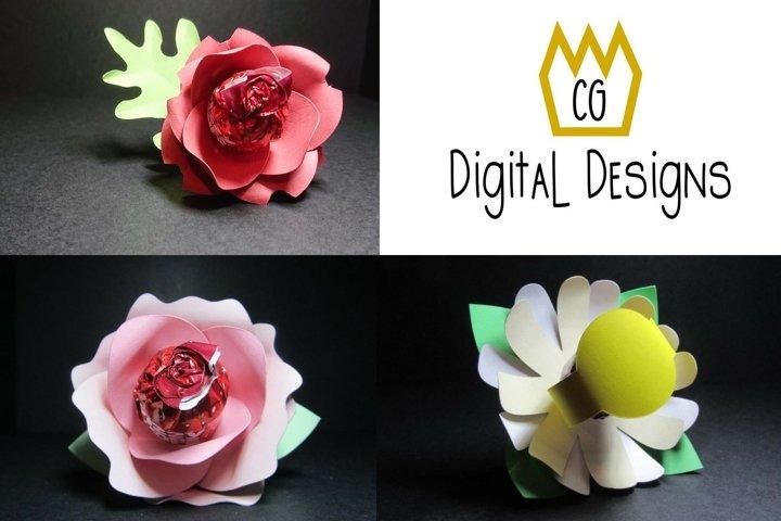 3D Lollipop Flower Bundle - Valentine Birthday Teacher - SVG