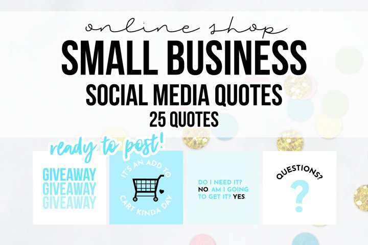 25 x Blue Online Business Social Media Quotes