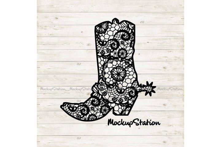 Cowboy Boot Lace Mandala SVG | Southern Western PNG